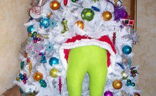 diy grinch holiday decor, crafts, home decor, seasonal holiday decor, Hose batting a santa suit