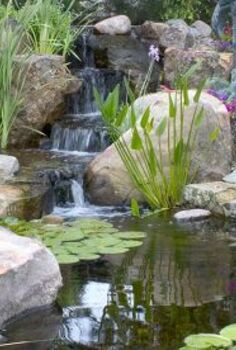 small water gardens, outdoor living, patio, ponds water features, Add a small waterfall to your small pond to keep it properly filtered and aerated which means less maintenance