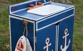 turn an old thrift store play sink into a nautical theme sink for boys, painted furniture, repurposing upcycling, I used Annie Sloan Napoleonic Blue with dark wax