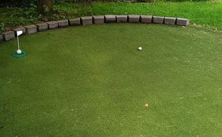 diy backyard golf green my dad s gift to himself for father s day, diy, how to, outdoor living, Border stones