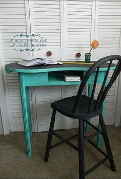 refinished junk desk, chalk paint, painted furniture, Finished