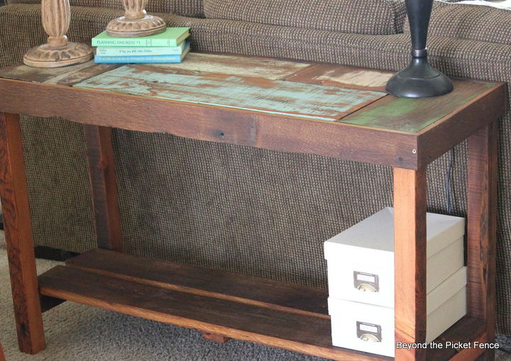 reclaimed scrap wood sofa table, diy, how to, painted furniture,  woodworking projects - Reclaimed Scrap Wood Sofa Table Hometalk
