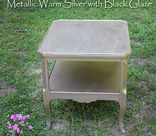metallic warm silver with black glaze finish, painted furniture