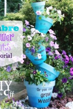 stacked ombre flower ports, flowers, gardening, I created an ombre effect using patio paint