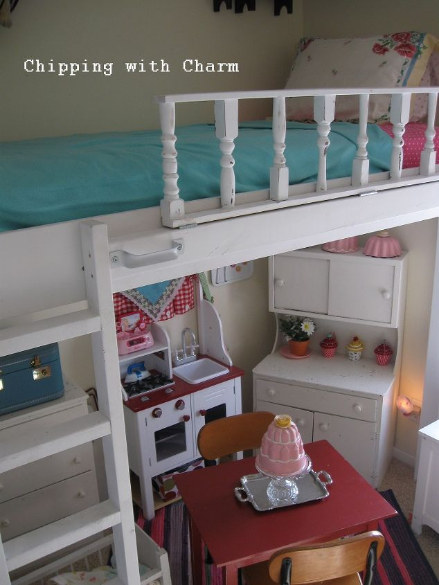 Lofted cottage bed for our little girl 39 s dream room for Diy little girls room