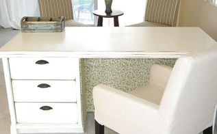 transform a dresser to a desk, painted furniture, repurposing upcycling, Inside of desk is covered with a graphic fabric
