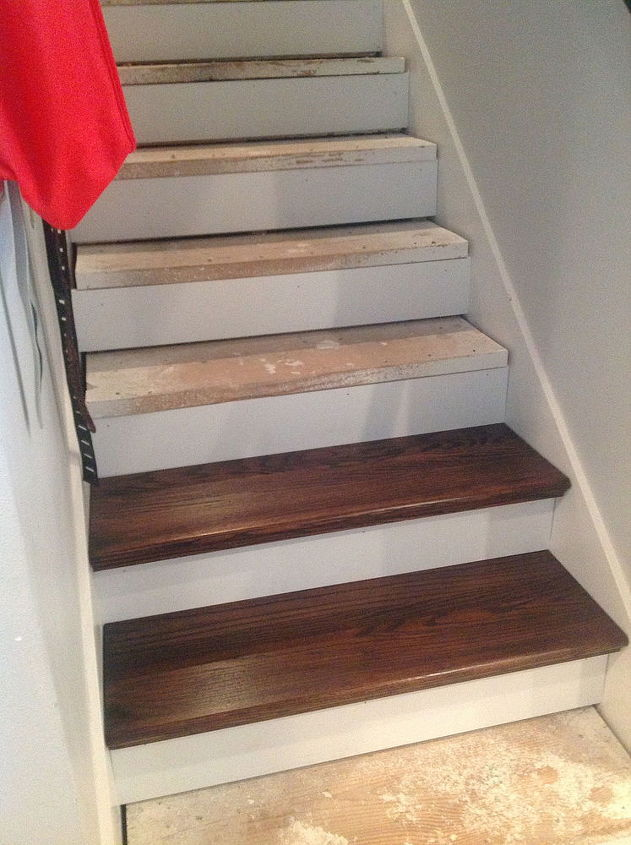 From carpet to wood stairs redo cheater version for Cleaning concrete steps