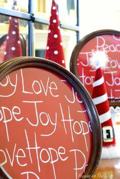 christmas fabric art made from a dishtowel, crafts, repurposing upcycling, seasonal holiday decor, I used a Christmas dishtowel to create a pair of adorable Christmas Fabric Art