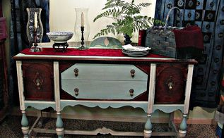 photo styling tips part iv of the small house series, home decor, My1940 s hand painted and transformed Jacobean sideboard set for a company brunch