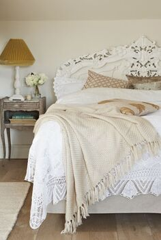 2013 hot decorating trend 11 anything embroidered knotted knitted ribbed or, home decor, mason jars, shabby chic, Lace and embroidery is everywhere in glam to shabby chic bed linens