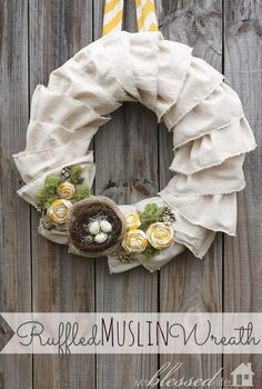 ruffled muslin spring wreath, crafts, seasonal holiday decor, wreaths, My Ruffled Muslin Wreath