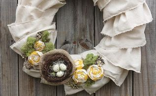 ruffled muslin spring wreath, crafts, seasonal holiday decor, wreaths, My Ruffled Muslin Wreath