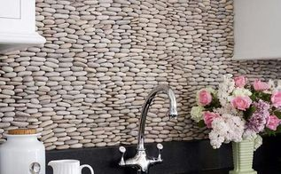 trendy and unique backsplash ideas, home decor, kitchen backsplash, kitchen design, wall decor, Have you ever seen anything like this pebble backsplash This is about as unique as it gets Source