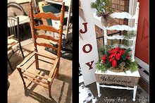 chair for charity creation, christmas decorations, repurposing upcycling, seasonal holiday decor, A cutie little before and after comparison