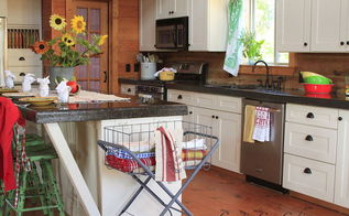 summer kitchen in a rustic log home, go green, home decor
