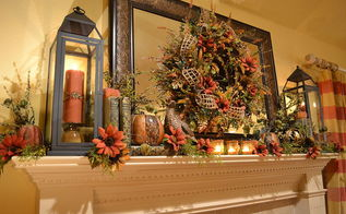 my fall mantel with a warm glow, seasonal holiday d cor, wreaths