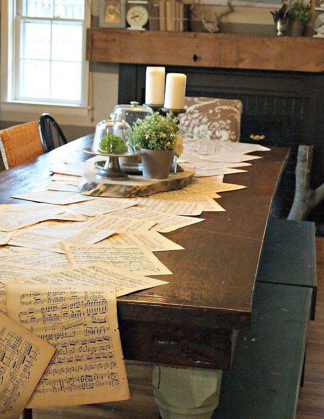 Vintage music sheet table runner hometalk for 10 x table song