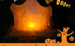 make a spooky but eco friendly ghost for halloween, crafts, halloween decorations, seasonal holiday decor, You can use any kind of light under this ghost except candles That wouldn t be good