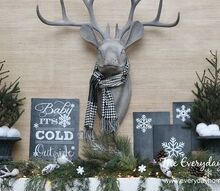 an easy winter mantel and 5 free winter printables, fireplaces mantels, home decor, seasonal holiday decor, My Winter Mantel featuring Mr Buck