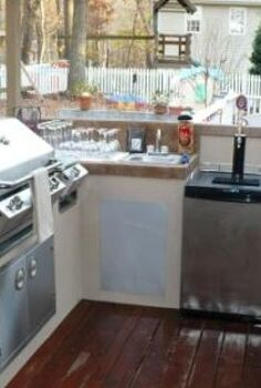 outdoor kitchen project, concrete masonry, decks, outdoor living, Kitchen is ready for the party