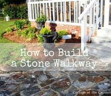 have you thought about building your own stone walkway my husband wrote a post about, concrete masonry, curb appeal, Our Stone Walkway