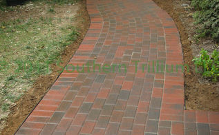 having read a recent post about dry laid flagstone versus pavers i wanted to share a, concrete masonry, curb appeal, diy, how to, patio, tools, Finished walkway after installing pavers compacting and wetting down the polymeric sand