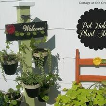 how to turn a wooden stand into a planter with hanging clay pots, gardening