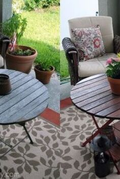 restored wood outdoor table, home decor, outdoor furniture, painted furniture, Take a look at the before after photos world of a difference and looks brand new Read about how we transformed this table
