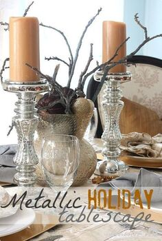 fabulous metallic holiday tablescape, home decor, living room ideas