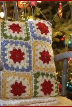 crochet granny square pillow, crafts