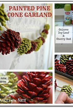 painted pine cone garland tutorial, christmas decorations, painting, seasonal holiday decor