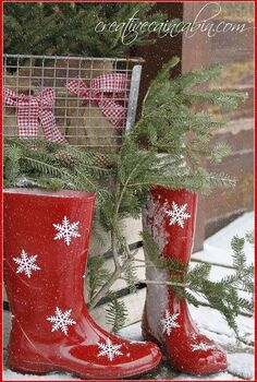 red snowflake boots gingham and pine vignette, crafts, doors, seasonal holiday decor