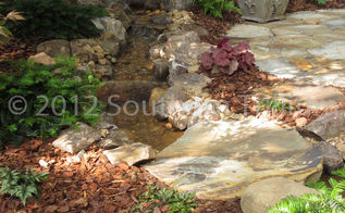 transformation of the backyard for bird lovers, gardening, landscape, outdoor living, ponds water features, A different view of the stream running along the sitting area