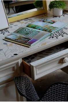 diy project of the week wallpaper your furniture, home decor, painted furniture, Make the office a fun place to work and wallpaper the top of a desk