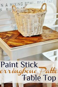 herringbone paint stick tabletop, painted furniture, repurposing upcycling