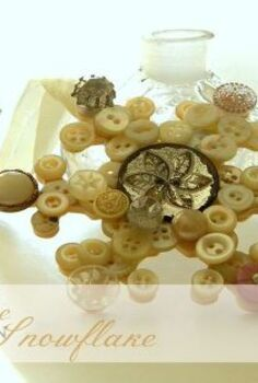 vintage button snowflake, crafts