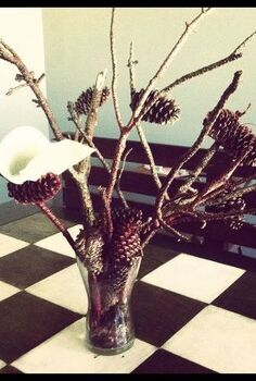 decorating using branches, home decor, Branches and Pinecones spray painted to create a centerpiece