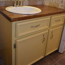 bathroom vanity makeover, bathroom ideas, countertops, woodworking projects, Vanity after makeover with new DIY doors and drawer fronts and 35 wood countertop made from cedar fence pickets