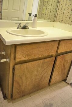 bathroom vanity makeover, bathroom ideas, countertops, woodworking projects, The bathroom vanity before with very old and disgusting apartment grade cabinet and laminate countertop