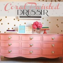coral painted dresser, painted furniture