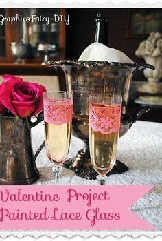paint some champagne glasses with a lacey pattern, crafts, painting, valentines day ideas, Pretty Champagne glasses