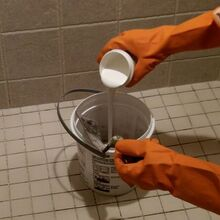 shower grout that doesn t stain or need sealed ever, bathroom, home maintenance repairs, Epoxy grout has a Part A and Part B