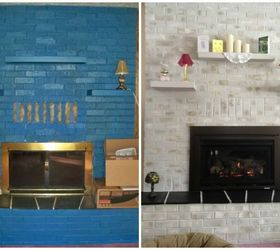 Previously BLUE Brick Painted Fireplace - Before & After Results ...
