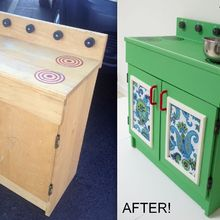 before amp after the makeover of a wooden play kitchen, chalk paint, diy, how to, painted furniture, A 2 50 wooden play kitchen from the thrift store gets a makeover