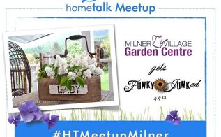 hometalk meetup in langley bc canada my garden junk goes live at milner village, container gardening, gardening, Milner will never be the same again heehee More at
