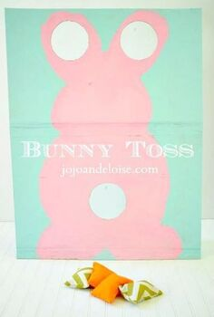 repurposing a cardboard box into a bunny toss game diy bean bags, crafts, seasonal holiday decor