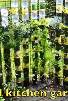 soda bottle tower for plants, gardening, repurposing upcycling