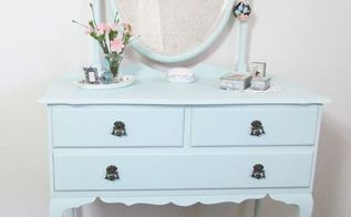 transforming an old dressing table for the new princess room, painted furniture, A fresh pop of colour in an all white room