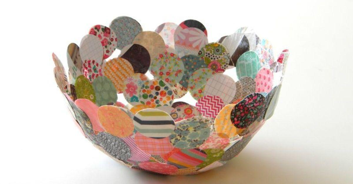 paper mache confetti bowl hometalk. Black Bedroom Furniture Sets. Home Design Ideas
