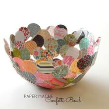 paper mache confetti bowl, crafts, decoupage, Make a paper mache confetti bowl with small scraps of paper